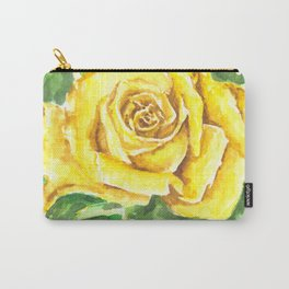 Yellow Rose Watercolor Painting Carry-All Pouch