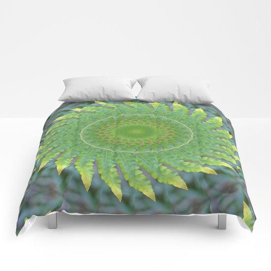 Palm Frond Kaleidoscope Comforters