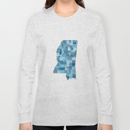 Mississippi Counties Blueprint watercolor map Long Sleeve T-shirt