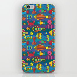 Stylize fantasy fishes under water iPhone Skin
