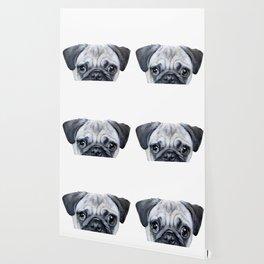 pug Dog illustration original painting print Wallpaper