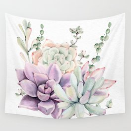 Succulents Mint and Purple by Nature Magick Wall Tapestry