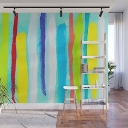 Ocean Blue Summer blue abstract painting stripes pattern beach tropical holiday california hawaii Wall Mural