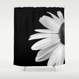 Half Daisy in Black and White Shower Curtain
