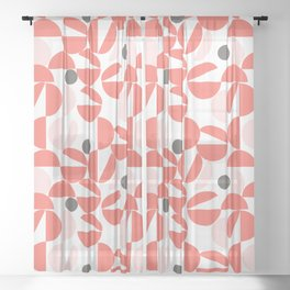Living Coral Abstract Sheer Curtain