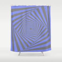 Periwinkle Blue Psychedelic Grunge Stripes Shower Curtain