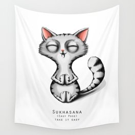 yoga cat sukhasana Wall Tapestry