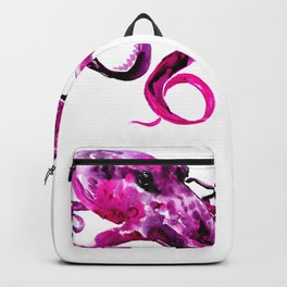 Pink Purple Octopus, sea world, aquatic, beach house octopus artwork Backpack
