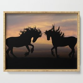 Wild Horses Silhouette Serving Tray