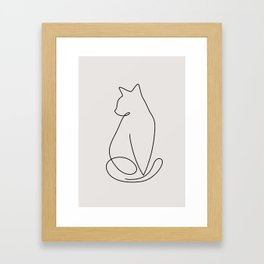 One Line Kitty Framed Art Print