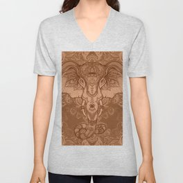 Sepia Ganesha Unisex V-Neck