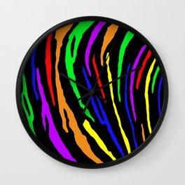 Rainbow Tiger Stripes Wall Clock