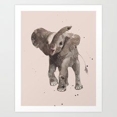 Rose Gray Elephant Art Print