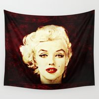 marilyn Wall Tapestries featuring Marilyn  by CLE.ArT.