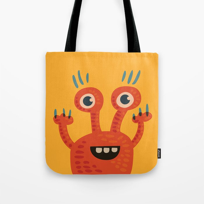 Funny Orange Happy Creature Tote Bag
