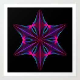 Abstract geometric shape  - rotating elements of lines and circles. Art Print