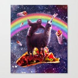 Space Sloth Riding Llama Unicorn - Taco & Burrito Canvas Print