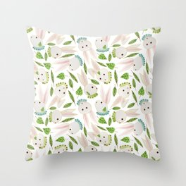 Rabbits in Ruffles Throw Pillow