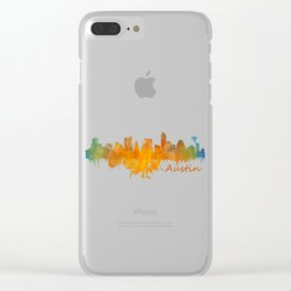 Austin Texas, City Skyline, watercolor  Cityscape Hq v4 Dark Clear iPhone Case