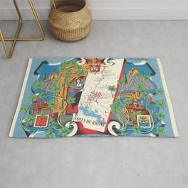 1950 Poster of Alsace, Loire Valley in France Rug