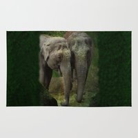elephants Area & Throw Rugs featuring Elephants  by Guna Andersone & Mario Raats - G&M Studi