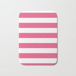 Horizontal Stripes - White and Dark Pink Bath Mat