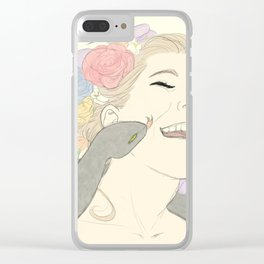 Sneks and Flower Crowns Clear iPhone Case