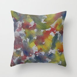 Red Blue Yellow Watercolor Throw Pillow