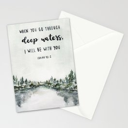 When You Go Through Deep Waters, I Will Be With You Stationery Cards