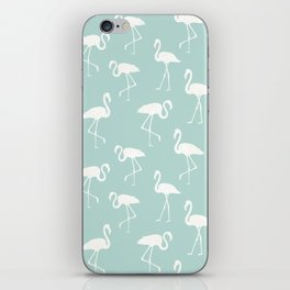 Flamingo Silhouettes, Pattern Of Flamingos - Blue iPhone Skin