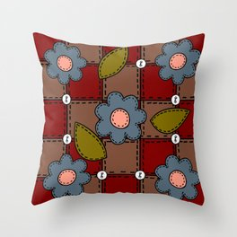 Retro Doodle Flower Style Quilt - Dark Red Brown Blue Throw Pillow