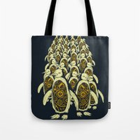 penguins Tote Bags featuring penguins by Kiryadi
