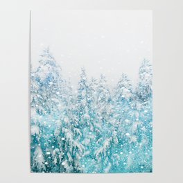 Snowy Pines Poster