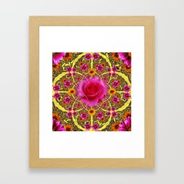 EXOTIC Decorative Yellow ART & Pink Roses Framed Art Print