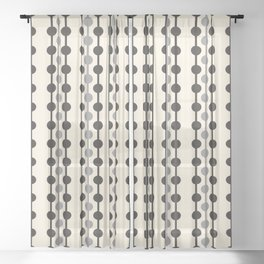 Geometric Droplets Pattern Series in Black Gray Cream Sheer Curtain