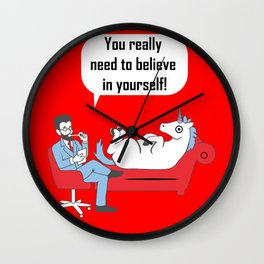 Unicorn doubt funny uncertain faith gift Wall Clock