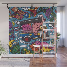Elephant riding tuktuk Wall Mural