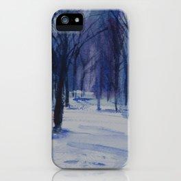 Central Park Blue Snow iPhone Case