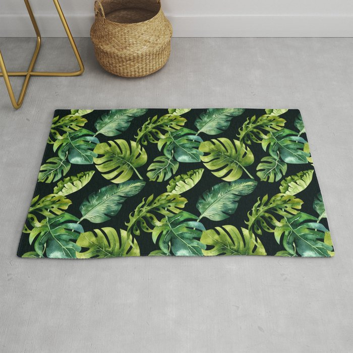 Watercolor Botanical Tropical Palm Leaves on Solid Black Background Rug