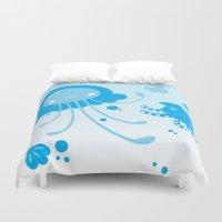 dumbo Duvet Covers featuring Kawaii Pastellyfish Jellyfish and Dumbo Octopus by KawaiiMachine