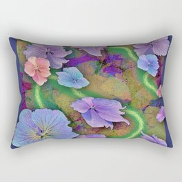 LACECAP HYDRANGEA THIMBLEBERRY ABSTRACT FLORAL Rectangular Pillow