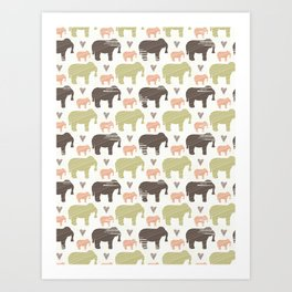 Brown Pink and Green Elephant Silhouette Seamless Art Print