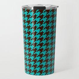 Turquoise Blue Brown Houndstooth Pattern Travel Mug