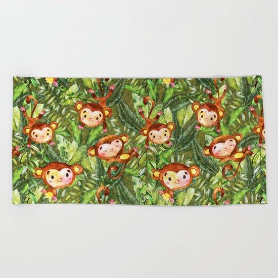 Monkey Jungle Fun-Monkeys in Palm Leaves Forest Beach Towel