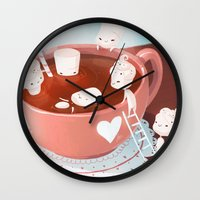 drink Wall Clocks featuring Drink by Joelle Murray