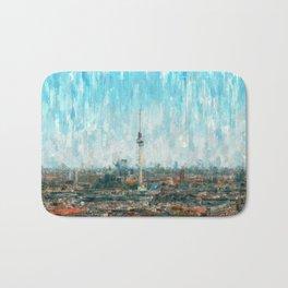 Berlin Skyline & Tv Tower, City Painting /  impressionism   / abstract landmarks drawing Bath Mat