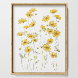 Yellow Cosmos Flowers Serving Tray