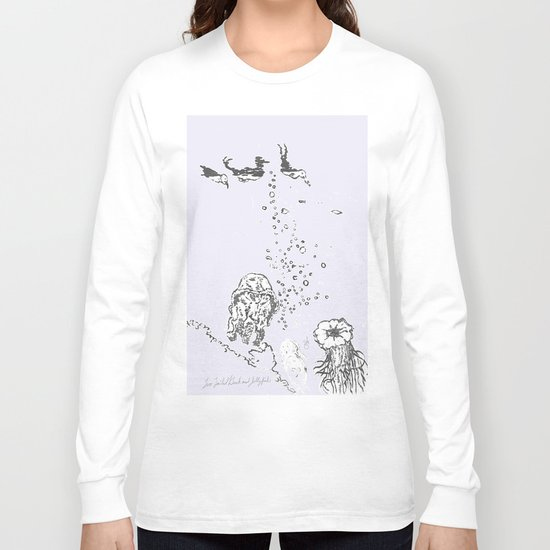 Two Tailed Duck and Jellyfish Lavender Long Sleeve T-shirt