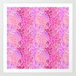 Tropical Ginger Blossom Vines in Pink + Coral Art Print