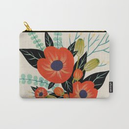Red Poppies - Ivory Carry-All Pouch